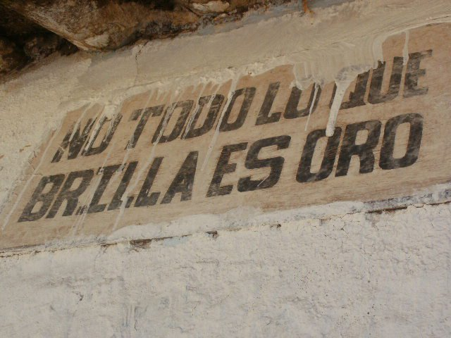 The inspiration for my tattoo: a sign in the middle of Calca, Peru.