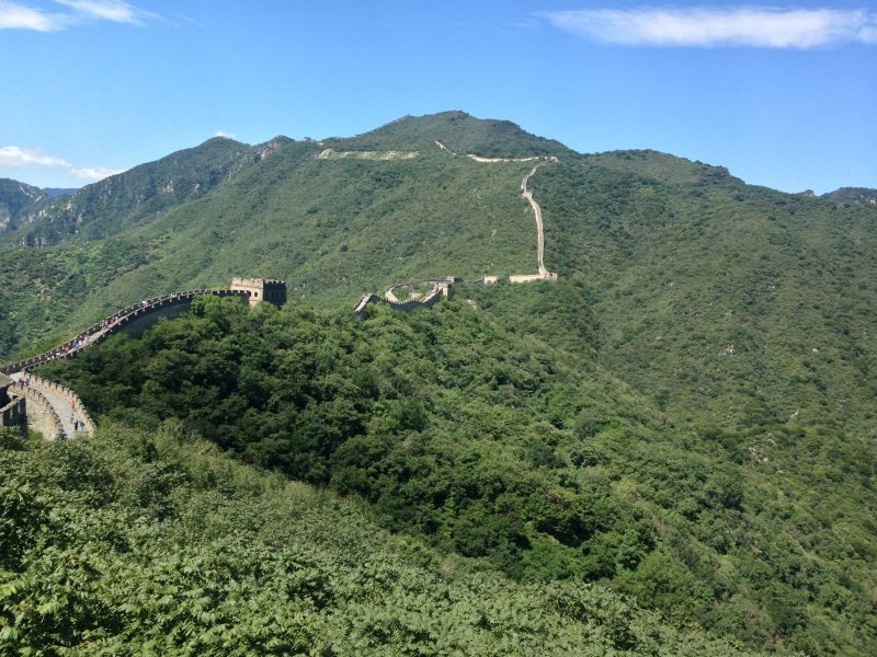 The view of Mutianyu Great Wall in the mountains, leading towards the Jiankou section