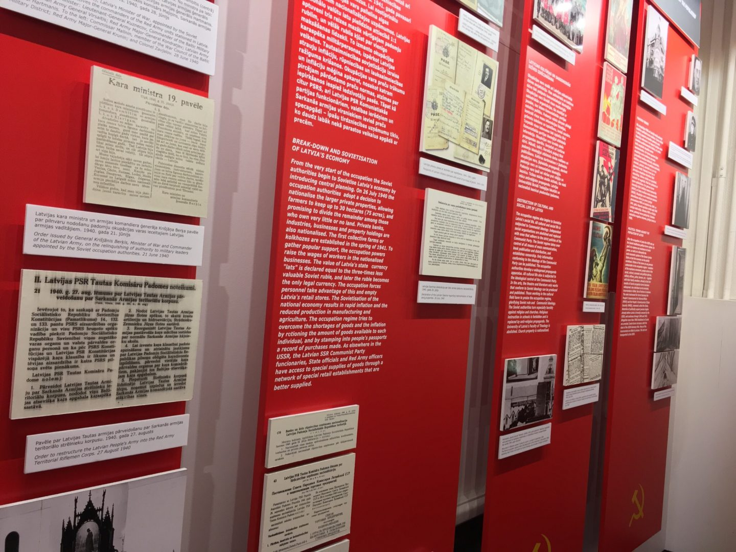 photo of display boards at the museum of the occupation of latvia