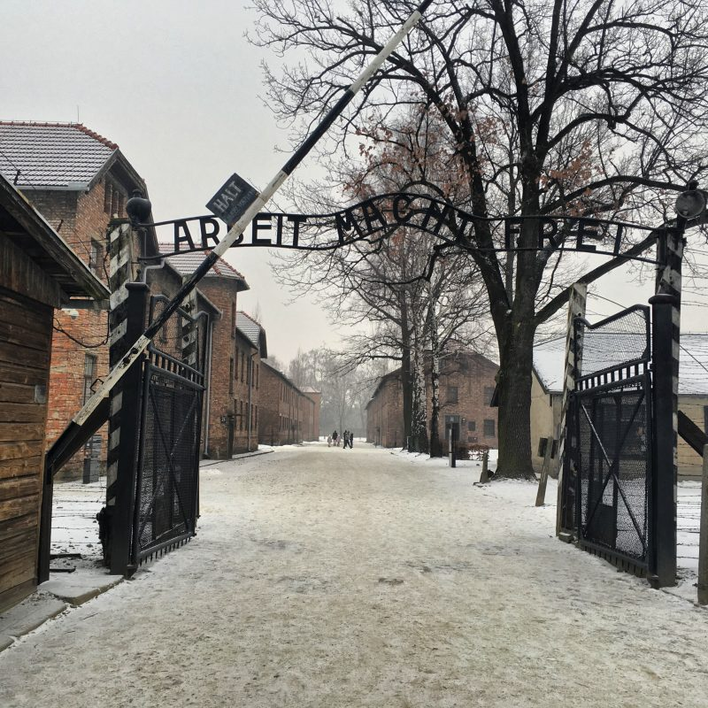 Photo of the entrance gate to Auschwitz concentration camp