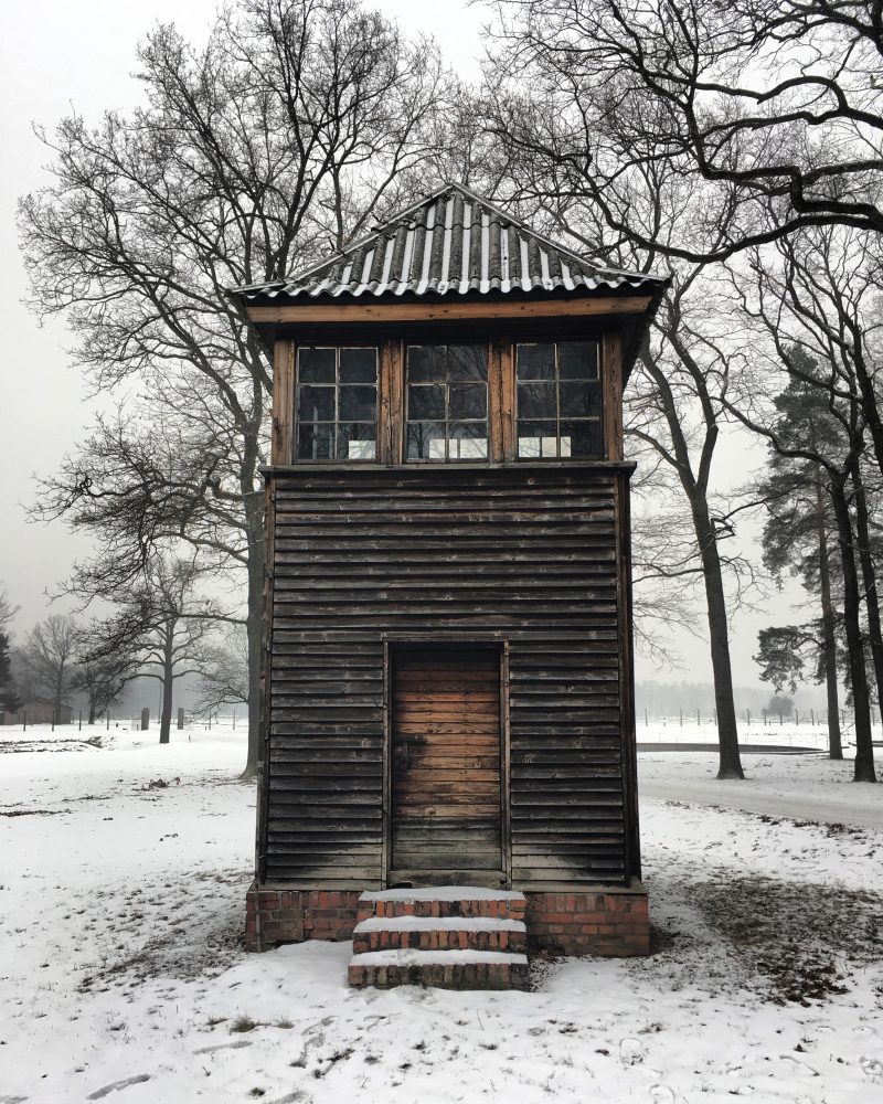 photo of watchtower at Auschwitz II concentration camp