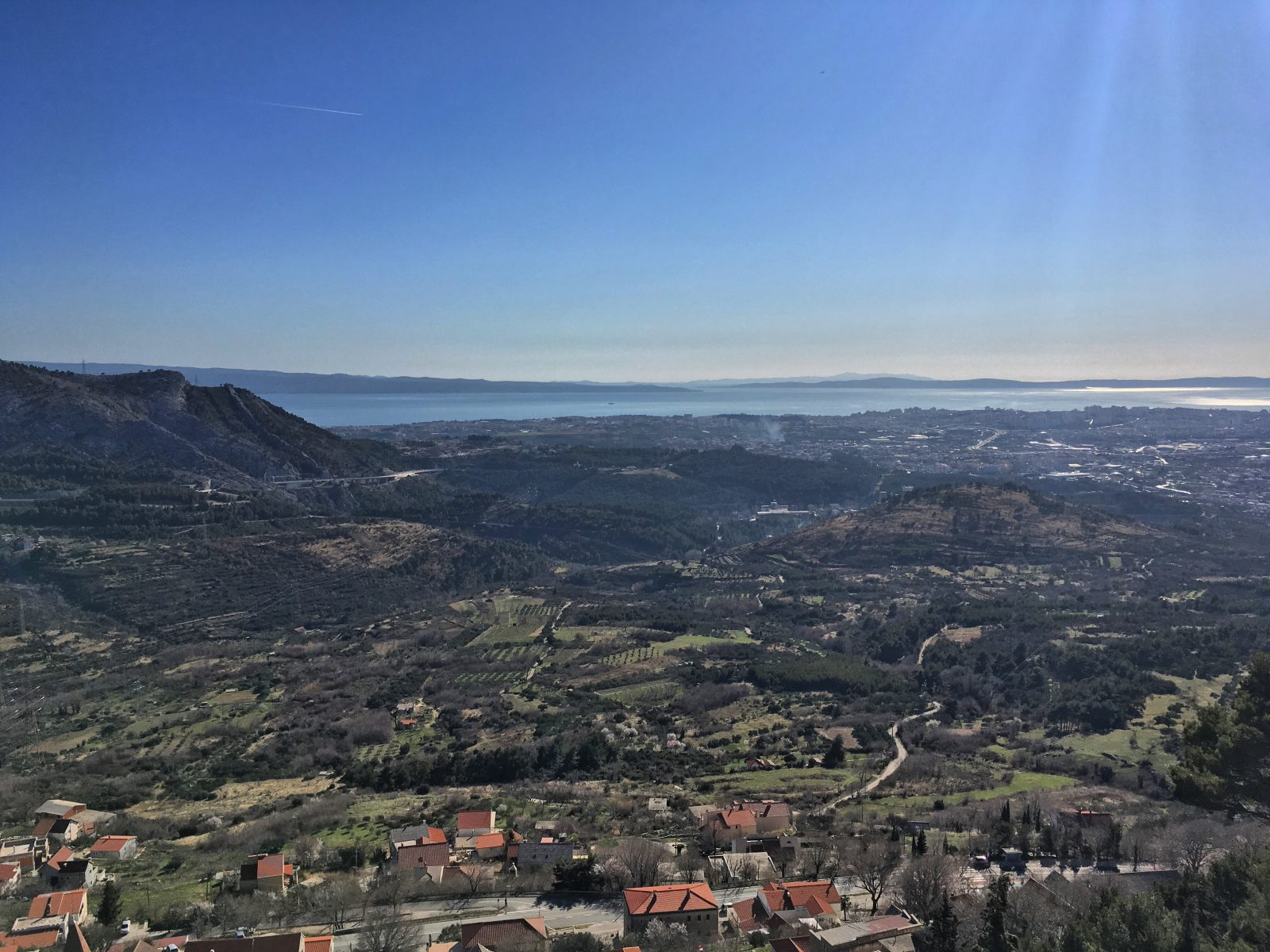 the view of Split and surrounding villages from Klis Fortress