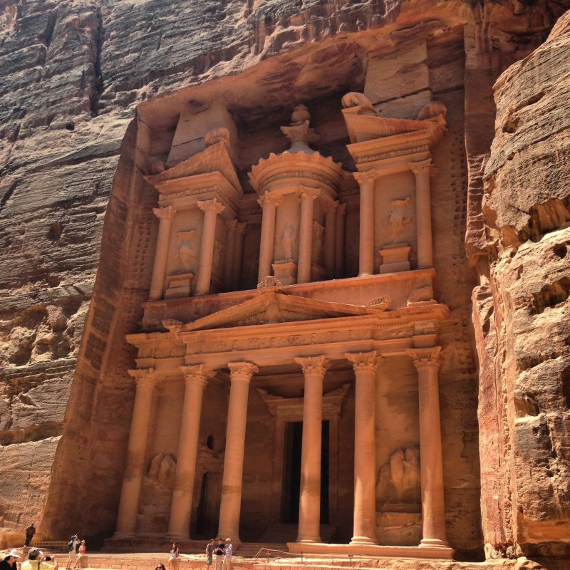 The beautifully intricate carved structure of The Treasury at Petra