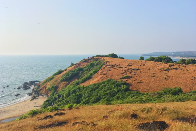 the coastal view from chapora fort in goa india anjuna