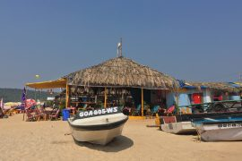 a boat on Baga beach in Goa Calangute