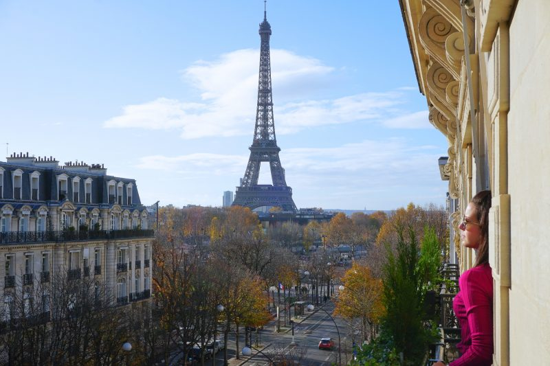 A beautiful view overlooking the Eiffel Tower in Paris, France from a hotel window