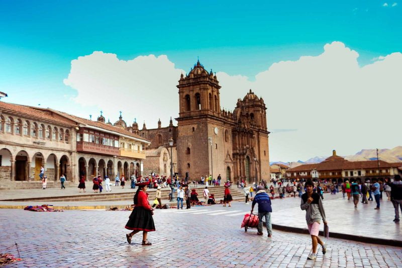 The Plaza de Armas in Cuzco, Peru, buzzing with life in the middle of the day