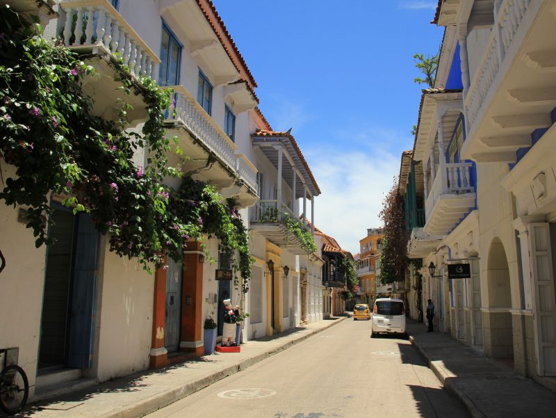 the beautiful bright streets of Cartagena Old Town in Colombia