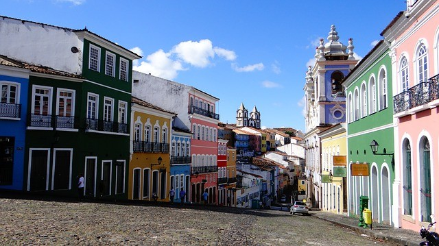 view of the colourful streets of the historic centre of Salvador de Bahia in Brazil