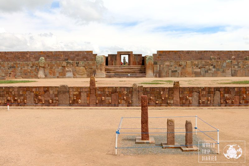 Stone structures at Tiwanaku archaeological site in Bolivia