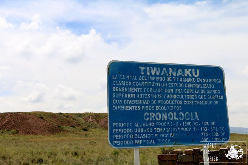 The sign at the entrance of Tiwanaku archaeological site in Bolivia