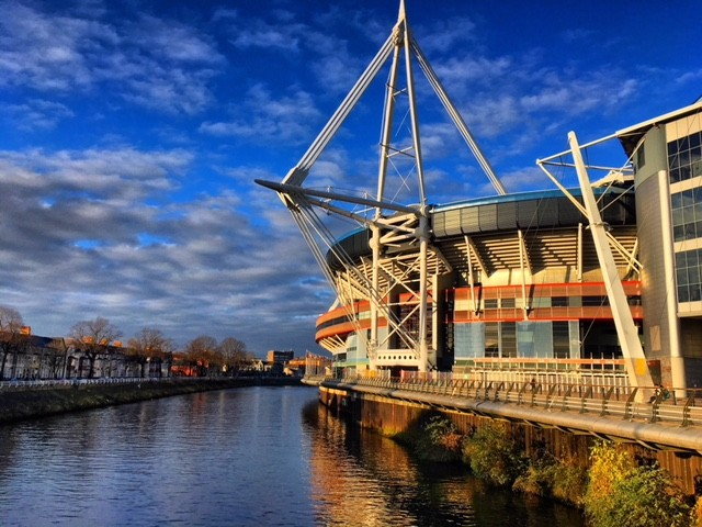 The river along the side of the Principality Stadium in Cardiff, Wales