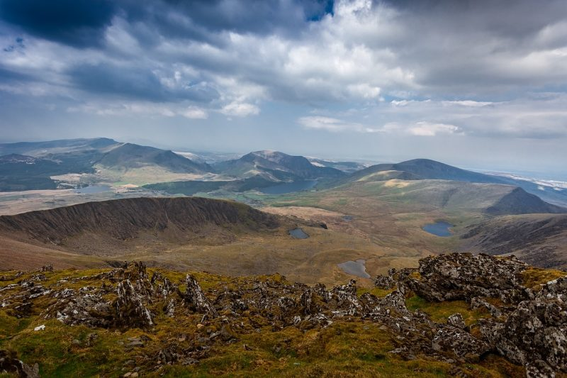 the view of Snowdonia National Park from the top of Mount Snowdon