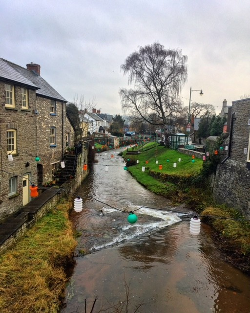 The canal and some buildings in Talgarth, Brecon