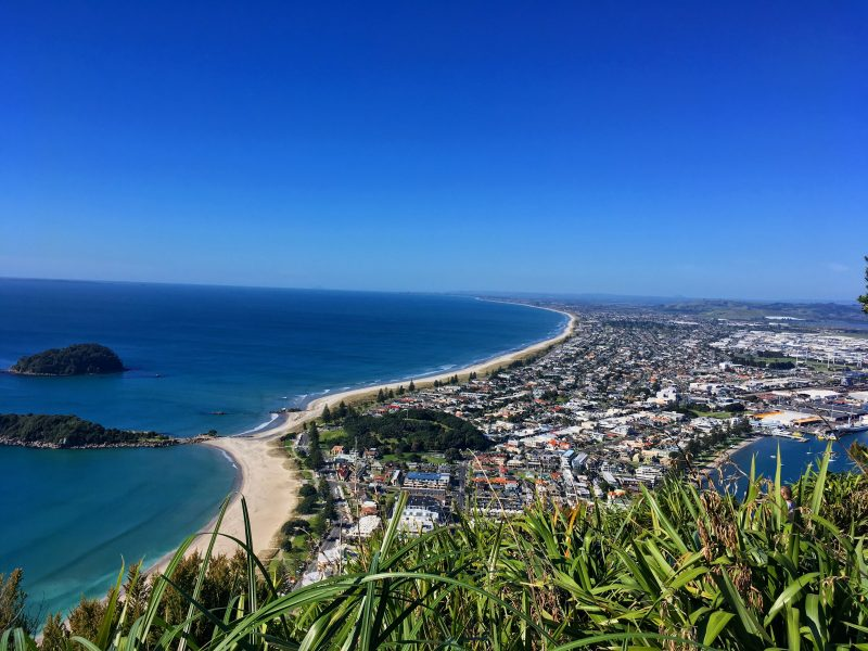 The view over Mount Maunganui from Mauao