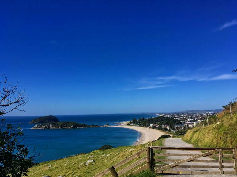 view across the beach of Mount Maunganui