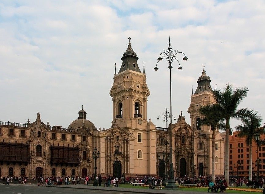 Plaza Mayor, or Plaza de Armas in Lima Peru is considered the birthplace of the city, and one of the best places to kickstart your 2 weeks in Peru