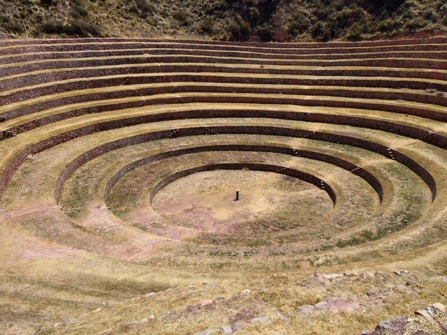 The incredible crop circle-like Inca ruins at Moray are one of the best things to see in the Sacred Valley of the Incas, Peru