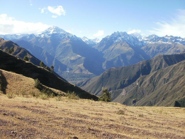 view across the mountains in the Andes of Sacred Valley, Peru