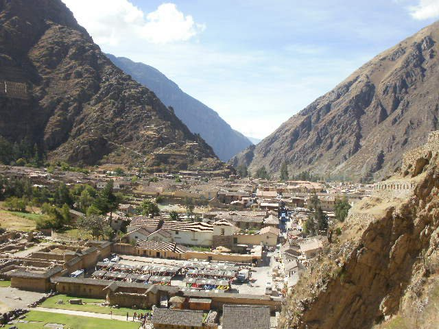 View of Ollantaytambo town from the terraces in the ruins