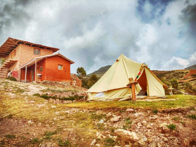the rugged glamping tents available if you spend the day with the Misminay Tribe in the Sacred Valley, Peru
