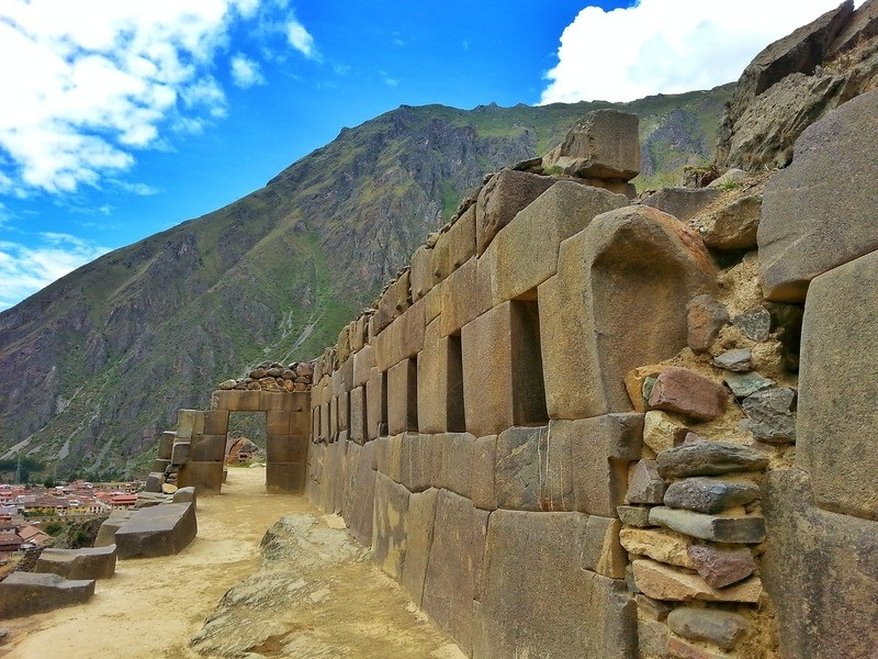 Temple Hill at Ollantaytambo Ruins with the mountains of the Sacred Valley in the background, the ruins are one of the highlights of the Sacred Valley