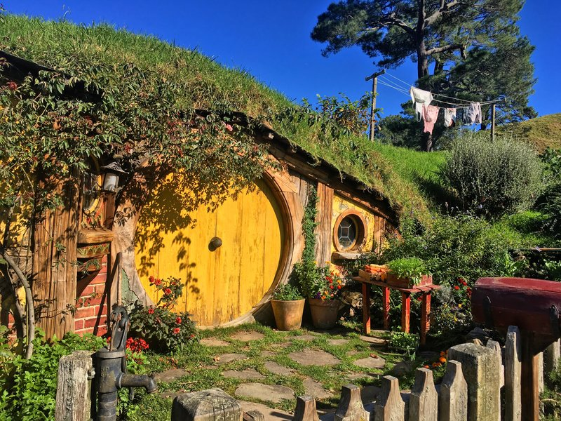a Hobbit hole with a bright yellow door at Hobbiton movie set. This is the house in which Rosie and Sam lived with their children.